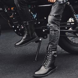Men's Leather Ankle Martin Boots Punk Motorcycle Biker Shoes
