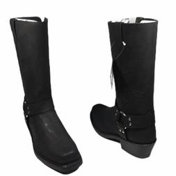Old West Men's Leather Harness Tall Black Motorcycle Boots S