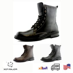 Men's Leather Lace-up Black Ankle Casual Motorcycle Combat D