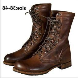 Men's Motorcycle Boots Combat Leather Shoes Military Punk Hi