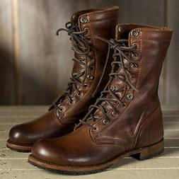 Men's Punk Leather Boots Vintage Motorcycle Military Shoes F