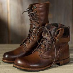 Men's Punk Leather Lace up Military Oxfords Boots Motorcycle