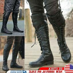 Men's Retro Pirate Knee High Boots Combat Boot Lace Up Leath