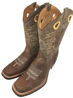 MEN'S RODEO COWBOY BOOTS GENUINE LEATHER WESTERN SQUARE TOE