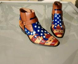 Men's US Size 10, Hand Painted American Flag Cowboy/Ankle/Mo