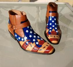 Men's US Size 11, Hand Painted American Flag Cowboy/Ankle/Mo
