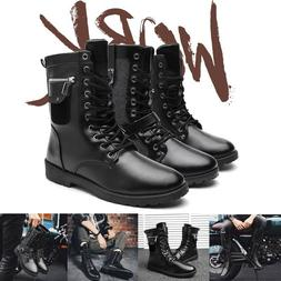 Men's Vintage Ankle Combat Motorcycle Boots Martin Sheos Hig