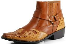 Men's Western Cowboy Motorcycle Ankle Boots West11