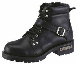 AdTec Men's YKK Motorcycle Zipper Boot Soft Black Leather, E