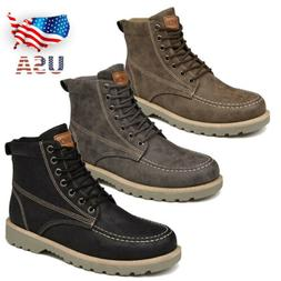 Men Wing Tip Lace Up Ankle Boots Combat Military Motorcycle