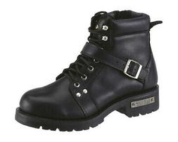 AdTec Mens Black 6in Lace Zipper Boot Leather Motorcycle