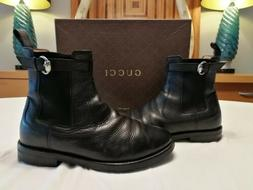 Gucci Mens Black Ankle MoTo Motorcycle Chelsea Horsebit Boot
