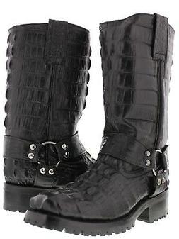 Mens Black Biker Crocodile Western Cowboy Boots Motorcycle H