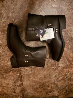 mens black leather motorcycle harness boots