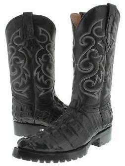 Mens Black Motorcycle Boots Alligator Tail Pattern Leather J