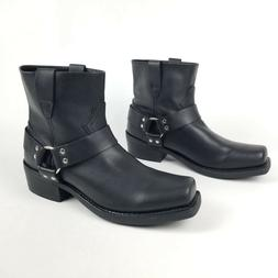 mens boots black harness strap 7 inch