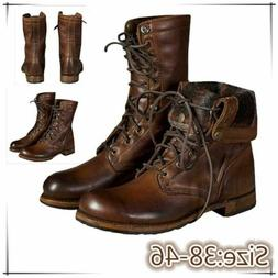 Mens Boots Punk Knight Shoes High Top Lace Up Martin Militar