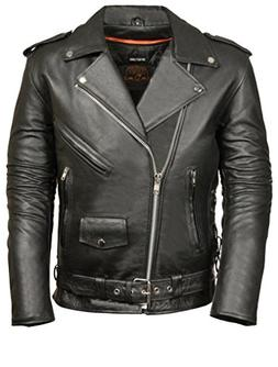 Leather King Mens Classic Side Lace Police Style Motorcycle