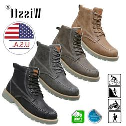 Mens Combat Motorcycle Riding Ankle Boots Lace Up Comfort Ca