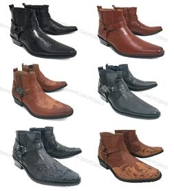 Men's Cowboy Boots Western Leather Lined Ankle Harness Str