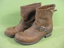 Frye Mens Engineer Boots 87850 Brown Longhorn Pull On 10 Mot