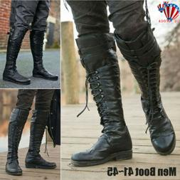 mens leather pirate knee high boots retro