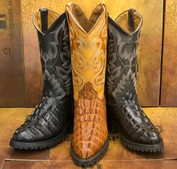 Mens Motorcycle Cowboy Western Boots Crocodile Tail Print Le