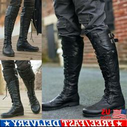 Mens Motorcycle Riding Pirate Boots Knight Knee High Rivets
