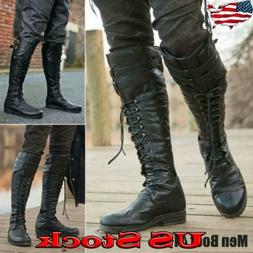 mens motorcycle riding pirate boots knight knee