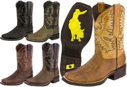 Mens Rodeo Cowboy Boots Genuine Leather Work Western Square