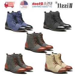 Mens two-tone Leather Martin Boots Work Ankle Shoes Combat M
