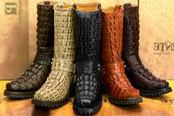 Mens Western Boots Harness Crocodile Tail Pattern Leather Sq