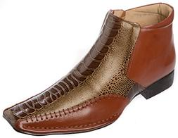 Alberto Fellini Mens Western Style Slip-on Side Zipper Brown
