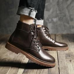 Mens Zipper Casual Motorcycle Outdoor Leather Ankle Boot Com