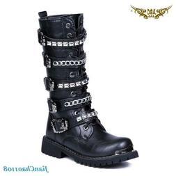 Metal Chain Mens Mid Calf Boots Strap Shoes Rivet Combat Mil