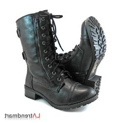 military combat mid calf motorcycle lace up