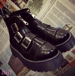 Motorcycle Ankle Boots Multi Buckle Shoes Ch Womens Gothic R