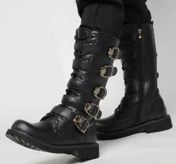 motorcycle Mens under knee high boots zip toe buckle strap c