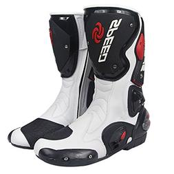 NEW Men's Motorcycle Racing Boots White US 9.5 EU 43 UK 8.5
