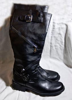 multi-zipper faux leather knee high boots new black size 8 f