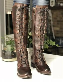 New Bed Stu Della Leather Knee High Lace Up Boots Teak Rusti