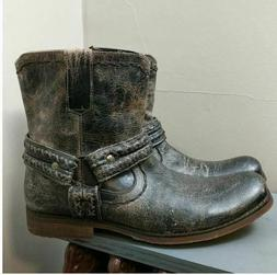 New Bed Stu Leather Harness Distressed Motorcycle Boot Men's