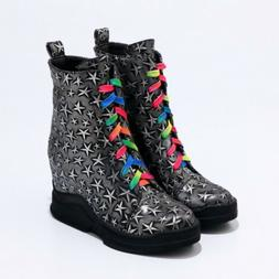 new women multi color motorcycle boots wedge
