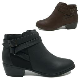 New Women's Ankle Boots Strappy Low Heel Short Booties Black