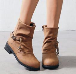 New Women's British Style Round Buckle motorcycle ankle boot