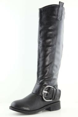 New Women's Buckle Strap Knee High Combat Riding Motorcycle