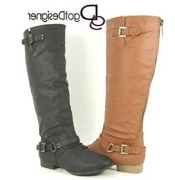 NEW Women's Knee High Riding Motorcycle Boots Flat Military