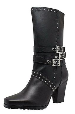 NEW Women's AdTec Leather Biker Boots Casual Dress Motorcycl