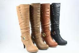 NEW Women's Buckle High Heel Side Zipper Mid Calf Knee High