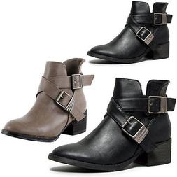 New Women's Slip On Belted Casual Ankle Bootie Motorcycle Ri